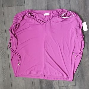 NWT Calvin Klein Purple Blouse with Ruched Details